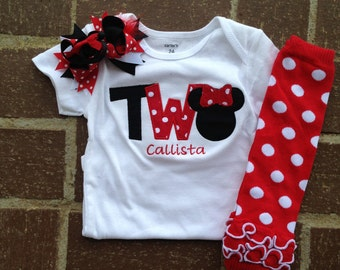 Red and black minnie mouse birthday outfit - 2nd birthday shirt leg warmers and hairbow - custom birthday shirt