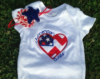 4th of July bodysuit or tshirt : shabby headband
