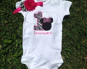Hot pink and black minnie mouse birthday outfit - 1st birthday shirt and headband - custom birthday shirt
