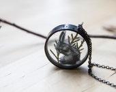 Bunny necklace, bunny art, bunny jewelry, animal jewelry, rabbit necklace, rabbit art, woodland necklace, woodland jewelry, bunny pendant