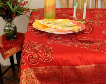 "Ornamental Embroidered (Scarlet Red) 42"" X 42"" Square Tablecloth"