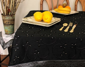 """Hand Embroidered Rectangular Tablecloth (Mystic Black, 60"""" X 104"""")"""