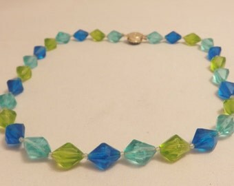 Vintage Lucite  Blue and Green Faceted Bead Necklace