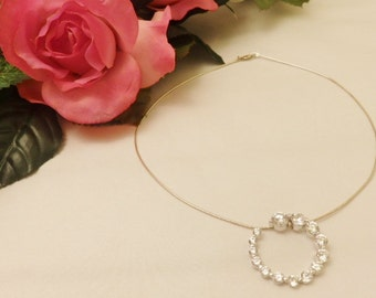Stunning 925 Sterling Silver Crystal Circle Pendant Necklace Jewelry Gift