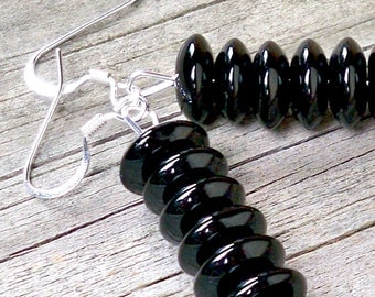 Vidra - Long Stacked 5mm x 10mm Black Glass Rondel Beaded Silver Fish Hook Earrings