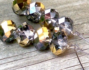 Rakelle - Long Chunky 16mm Round Faceted Gold Silver Gray Czech Glass Beaded Dangle Pewter Kidney Hoop Earrings