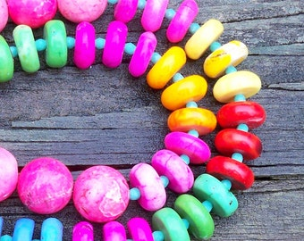 Jamey - Multicolor Rainbow Turquoise Rondel Gemstone Beaded Necklace - Colorful, Tribal, Resort