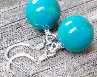Rhonay - 12mm Round Aqua Blue Green Agate Gemstone Silver Fish Hook Dangle Earrings