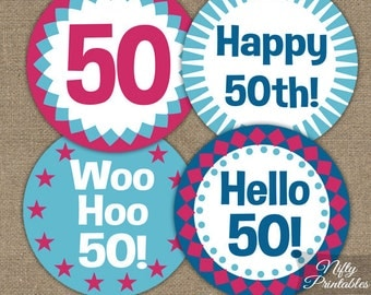 50th Birthday Cupcake Toppers - 50th Hot Pink Toppers - Printable 50th Birthday Party Decorations - Hot Pink Blue 50th Birthday Decor