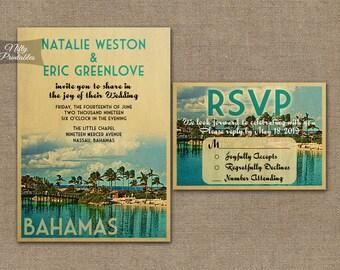Bahamas Wedding Invitation - Printable Vintage Bahamas Island Wedding Invites - Nassau Grand Bahama Retro Wedding Suite or Solo VTW