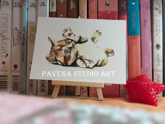 Print-water color cat-size card 5x7""