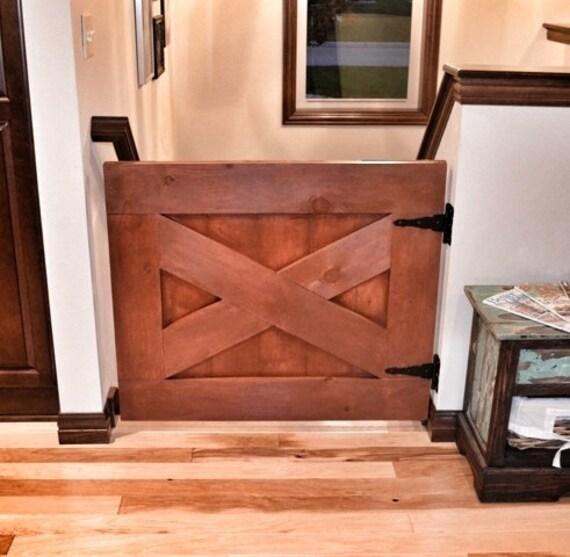 Custom Made Rustic Barn Door Style Baby Gate Rustic Orange