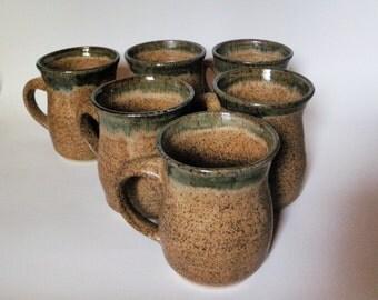 Tan and Green Stoneware Mugs
