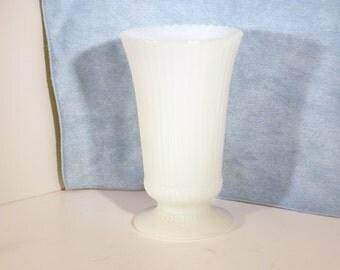 EO Brady milk glass striped pattern vase