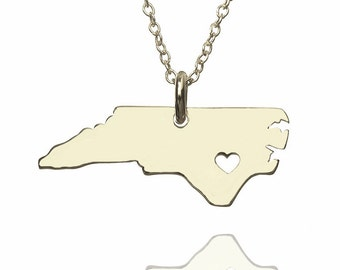 North carolina state necklace, map necklace, 925 sterling silver necklace