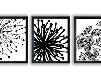 INSTANT DOWNLOAD Black White Set of 3 Dandelion Art Printable Abstract Art Flower Print Wall Decor Modern Minimalist Bathroom Bedroom
