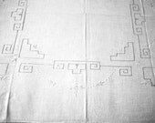 Embroidered Linen Table Cloth. Vintage white Tablecloth Embroidered in Pale Blue. From the 1970's.