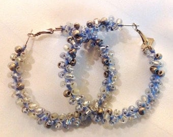 White, Crystal, Silver and Blue Hoop Earrings