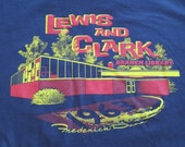 Mens Large Lewis and Clark Branch Library T-Shirt Navy