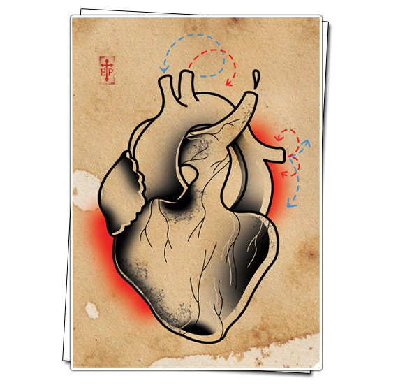 Items similar to Anatomical Heart Print. Neo Traditional ...