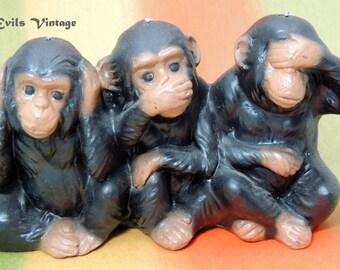 3 Wise Monkeys See No Evil Hear No Evil Speak No Evil  candle