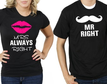 Mr Right Mrs Always Right T-Shirt Couple T Shirt Gift For Couple