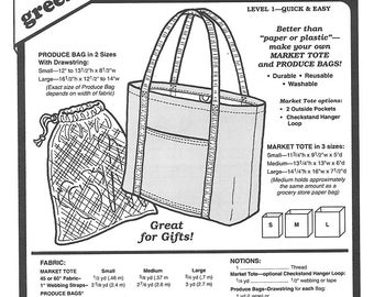 Sewing Pattern - Eco Friendly Grocery Bag and Produce Tote, Green Pepper Patterns - GP 546