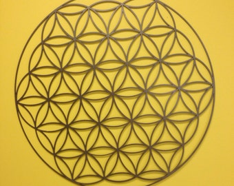 "Flower of Life Metal Wall Art 24"" in Silver or White"