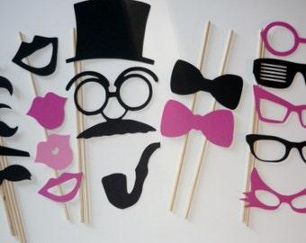 20 Photo Booth Prop Set gender reveal ,mustache ,lips,hat,wedding,birthday (2011DC)