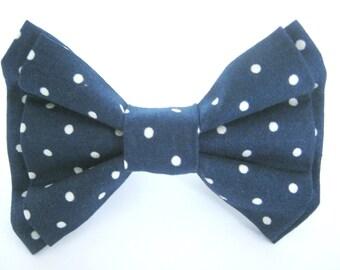 Dog Bow Tie Navy Polka Dot Removable Bow Tie Small Medium Large
