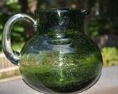 Vintage Blenko, Art Glass, Emerald Green, Bubble Glass, Green Pitcher, Blenko Pitcher, Green Bubble Glass, Home Decor, Kitchen Decor,