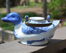 Vintage Duck Teapot, Delft Teapot, Gifts for Mom, Gifts for Her, Unique Gifts