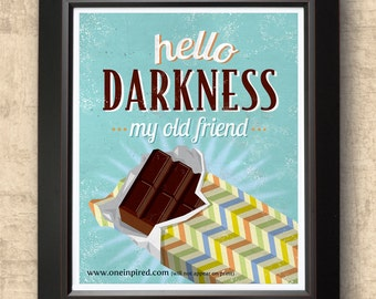 Chocolate Poster Decor Typographic Print Kitchen Food Dining
