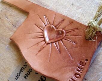 "Tooled Leather Oklahoma ""HOME"" Ornament."