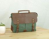 Coral-Green Canvas Bag ,  Birthday/ Holidays Gift , Shoulder Bag,  Canvas Messenger Bag, School Bag