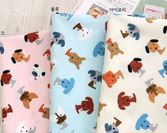 Cotton Fabric Cute Puppies in 3 Colors By The Yard
