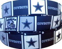 7/8 inch Grosgrain Dallas Cowboys Star NFL Football Ribbon Trim By The Yard by KC Elastic Ties