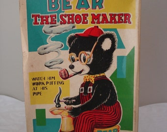 Battery Operated BEAR The Shoe Maker (Japan 1950's)