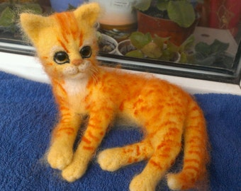 Needle felting cat kitten