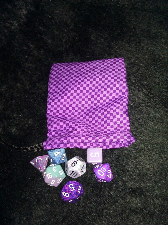 Purple checkerboard dice bag with a paracord drawstring by for Paracord drawstring bag