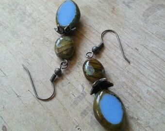 Earrings -  Blue and Green Agate Stone