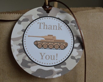 Camo Birthday Party - Camo Favor Tag - Camo Party - Army Party - Set of 12