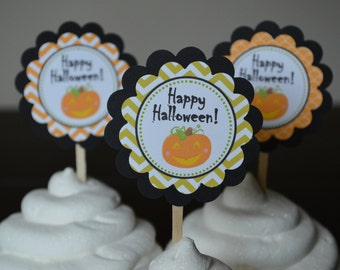 Halloween Cupcake Toppers - Halloween Party - Pumpkin Cupcake Toppers -  Set of 12