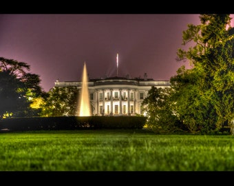 16x24 White House and South Lawn Fountain at Night - Fine Art Photographic Print