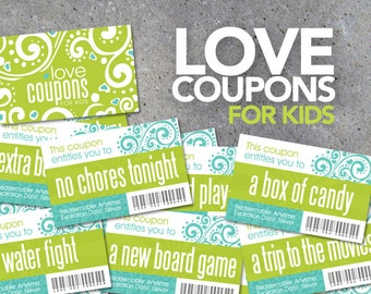 Love Coupons FOR KIDS – Printable Instant Download – Printable coupons for kids and young children – Reward Coupons – Birthday gift