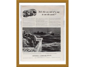 "1943 Sperry Corporation AD / Ain't this one hell of a way to see the world? / Original Print Ad / 10 1/4"" x 13 5/8"" / Buy 2 ADS Get 1 FREE"