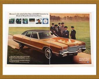 "1971 Ford Mercury Car Color Print AD / Better ideas make better cars / 2 pages / 20"" x 13"" / Original Advertisement / Buy 2 ads Get 1 FREE"