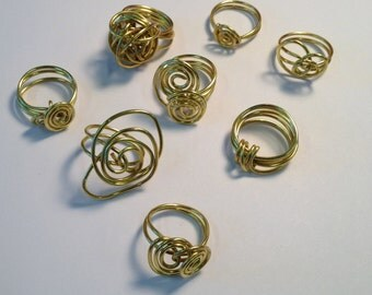 Wire wrapped brass rings
