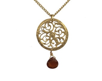 Gold Medallion Necklace with Red Carnelian Briolette