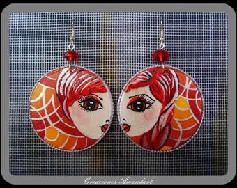 Earrings CHRISTA- hand painted wood